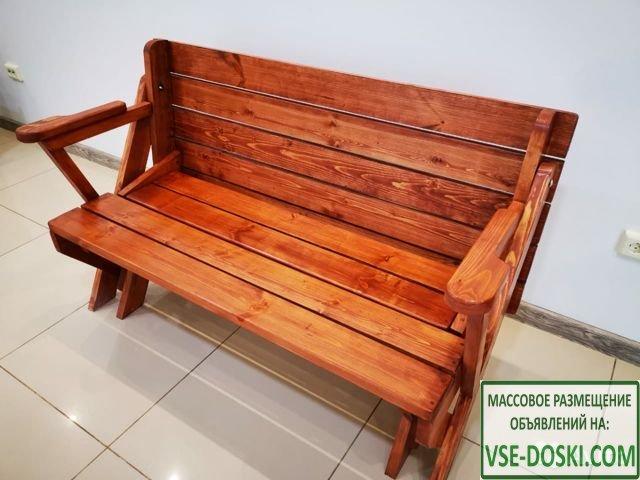 Лавка-трансформер/стол-скамейка(на деревянном каркасе)
