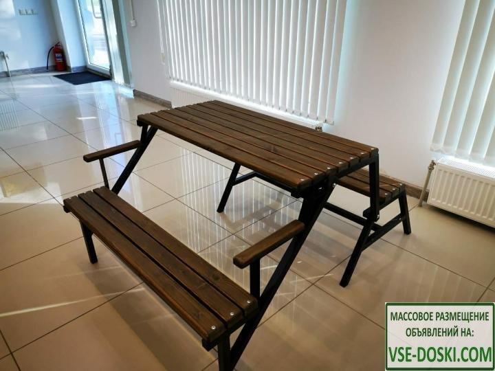 Лавка-трансформер/стол-скамейка(на железном каркасе)